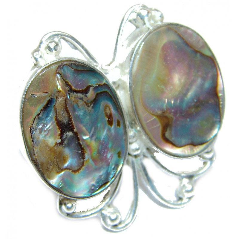 Authentic Rainbow Abalone Sterling Silver handmade Ring s. 7