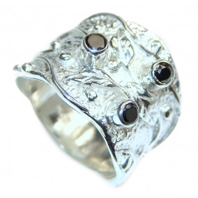 Energizing genuine Onyx .925 Sterling Silver handcrafted Ring size 7 3/4