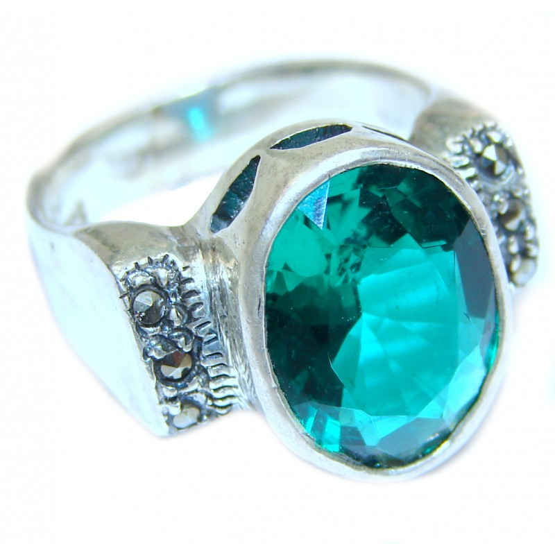 Green Quartz .925 Sterling Silver handcrafted ring; s. 7