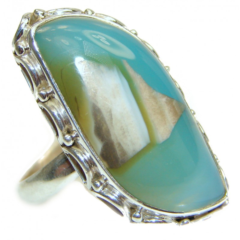 Agate .925 Sterling Silver handcrafted Ring s. 9 1/2