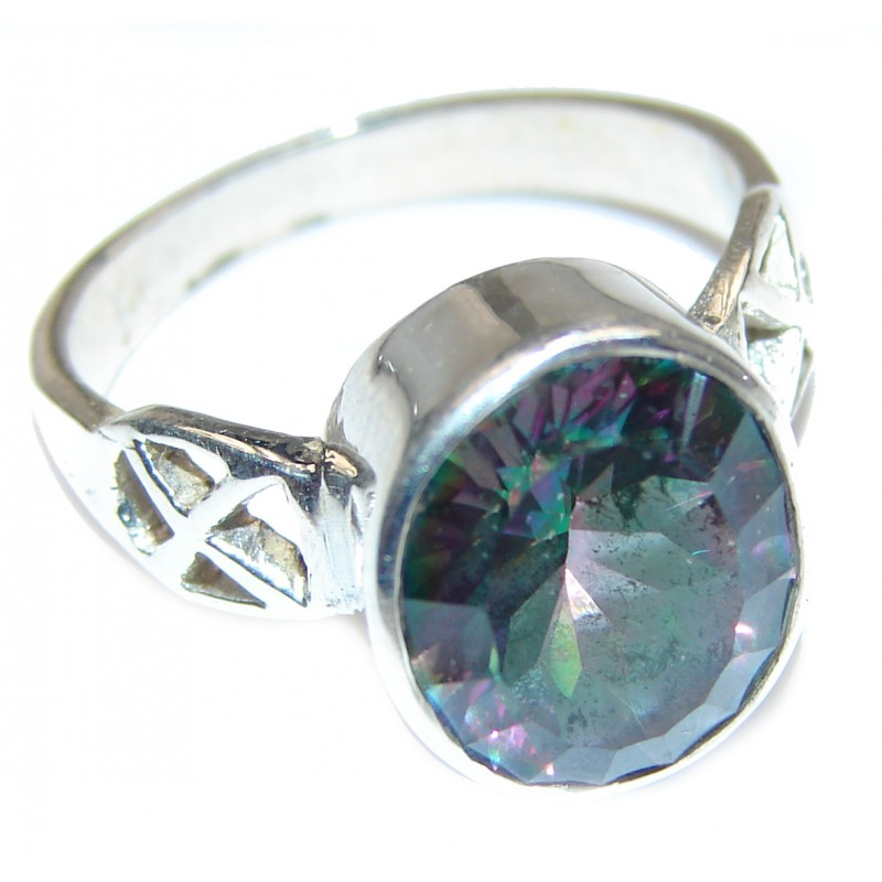Exotic Magic Topaz .925 Sterling Silver handcrafted Ring s. 7 1/4