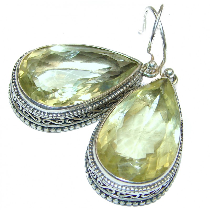 Large Vintage Style Authentic Citrine .925 Sterling Silver handmade earrings