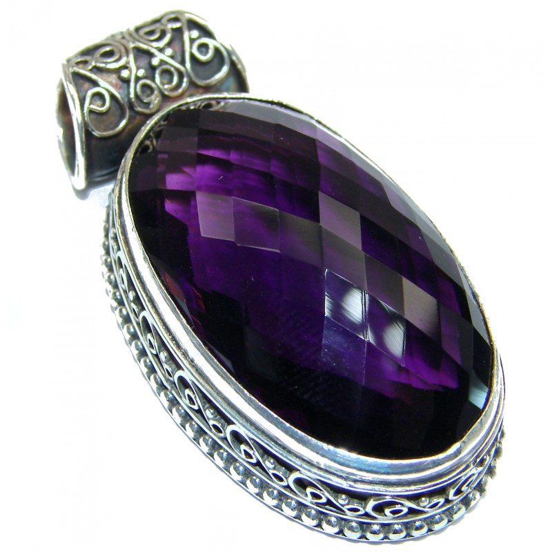 Vintage Style created Alexandrite Sterling Silver handmade Pendant