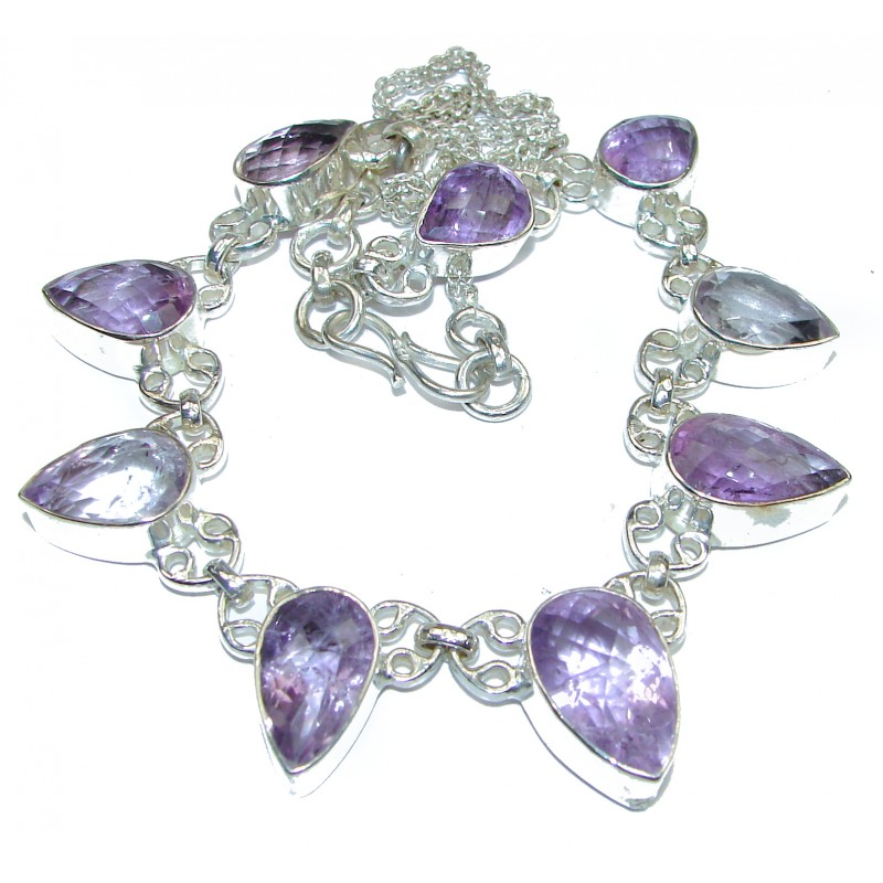 Huge Authentic Amethyst .925 Sterling Silver Necklace