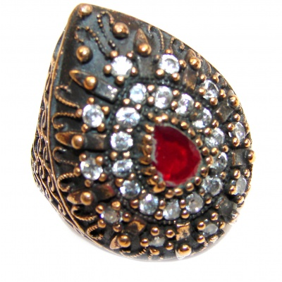 Large Victorian Style created Ruby & White Topaz Sterling Silver ring; s. 5 3/4