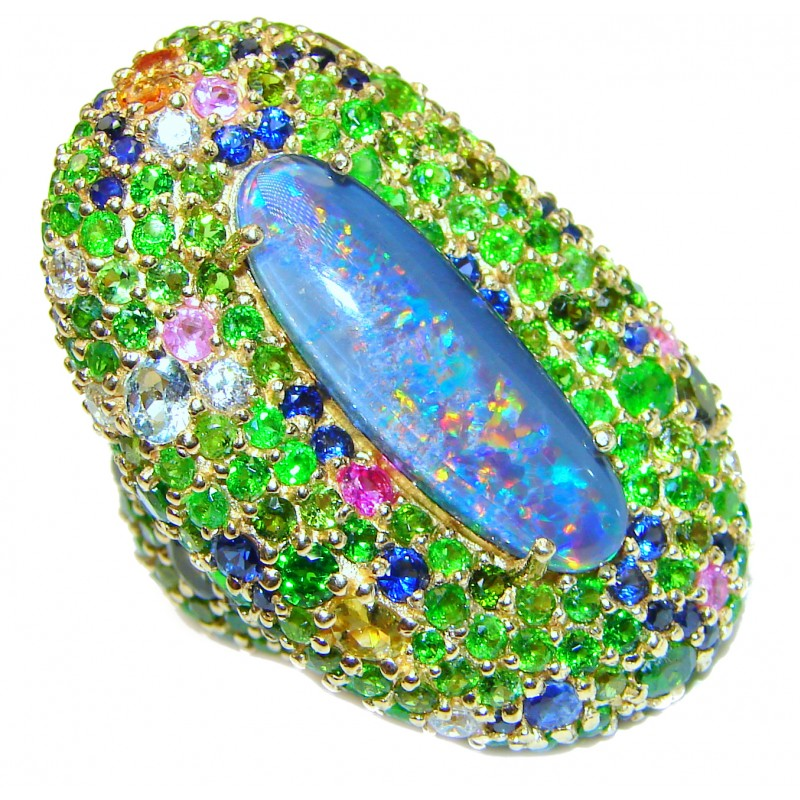 Large Australian Doublet Opal 24K Gold over .925 Sterling Silver handcrafted ring size 7 1/4
