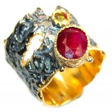 Large genuine Ruby 18K Gold over .925 Sterling Silver Statement Italy made ring; s. 6 1/2