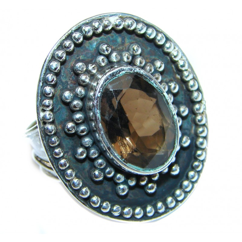 Large Authentic Smoky Topaz .925 Sterling Silver handcrafted ring; s. 8 1/4