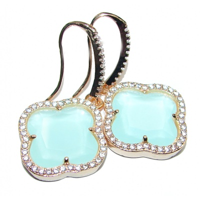 Classy Clover Mint Topaz 18K Gold over .925 Sterling Silver handcrafted earrings