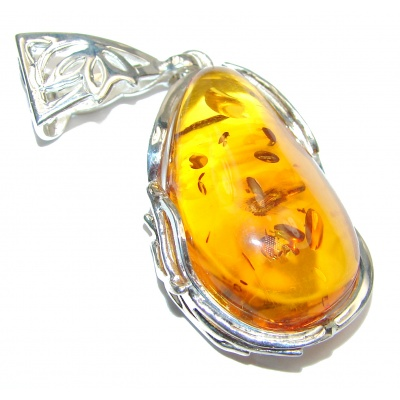 LARGE Natural Baltic Amber 18K Gold over .925 Sterling Silver handmade Pendant