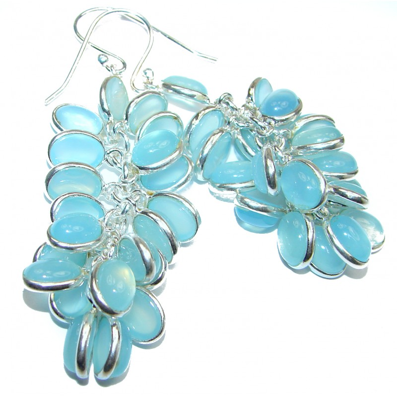 Sublime Blue Chalcedony Agate Sterling Silver handmade earrings