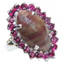 Vintage  Style  Sapphire Ruby .925  Sterling Silver handcrafted ring; s. 8