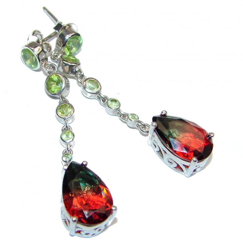 Stunning Watermelon Tourmaline color Topaz .925 Sterling Silver entirely handmade earrings