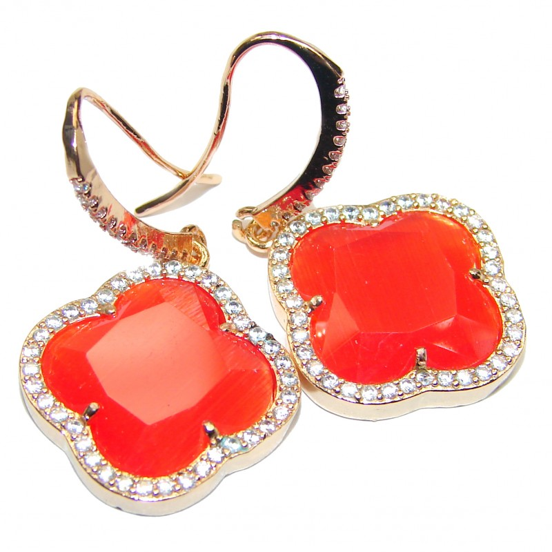Classy Clover Carnelian 18K Gold over .925 Sterling Silver handcrafted earrings