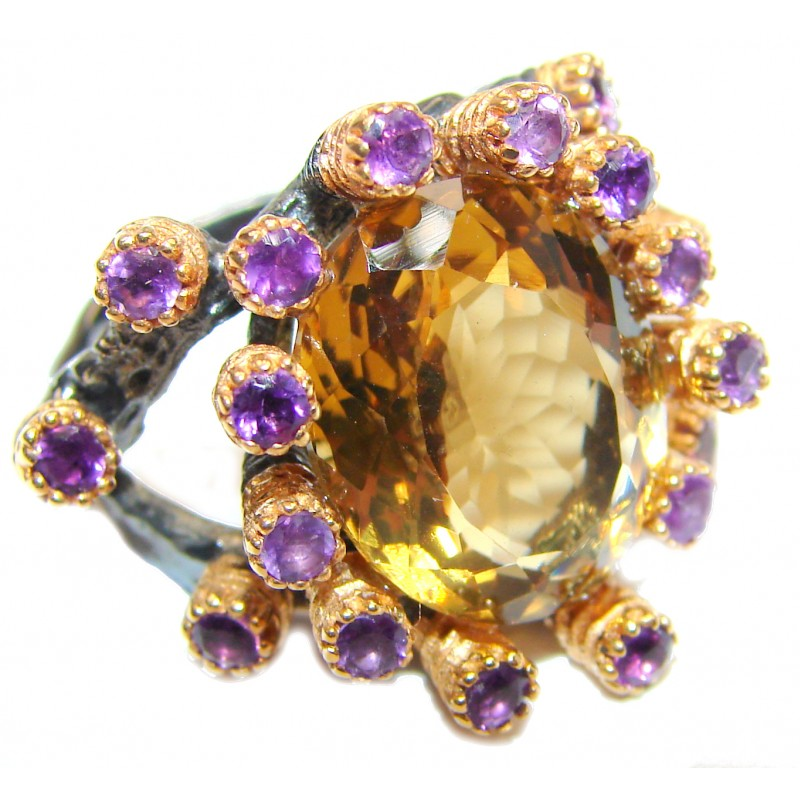 Jumbo Vintage Style Citrine 18K Gold over .925 Sterling Silver handmade Cocktail Ring s. 8