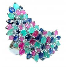 Large genuine Ruby Emerald Sapphire  .925 Sterling Silver Statement  ring; s. 6 3/4