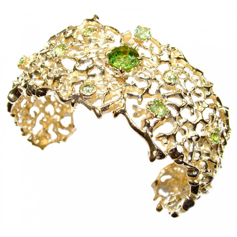 Luxury genuine Peridot 18K Gold over .925 Sterling Silver handcrafted Bracelet / Cuff