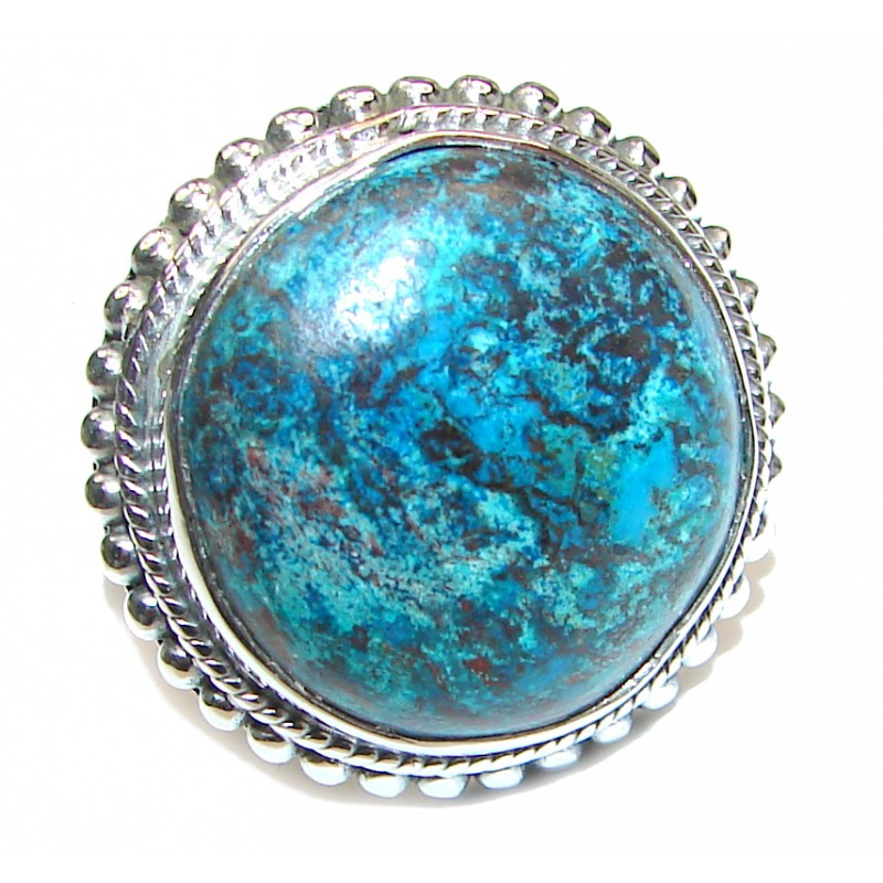 Huge Azurite stone .925 Sterling Silver ring; s. 9