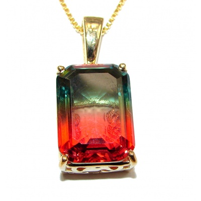 Emerald cut Watermelon Tourmaline .925 Sterling Silver handcrafted necklace
