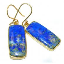 Perfect genuine  Blue Lapis Lazuli 18K gold over .925 Sterling Silver handmade earrings