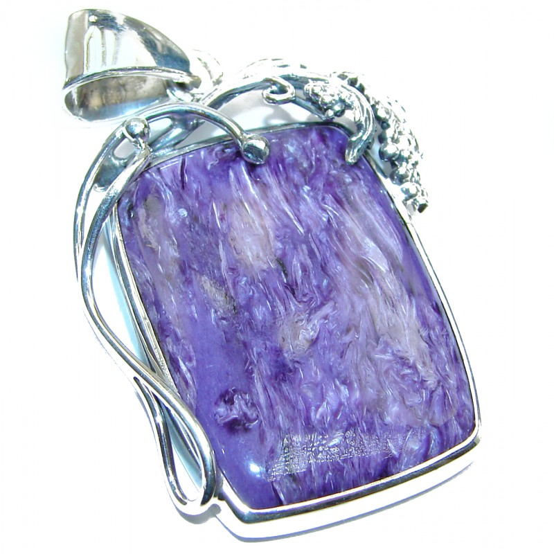 Huge Unique genuine Siberian Charoite .925 Sterling Silver handmade Pendant