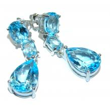 Great Swiss Blue Topaz  .925 Sterling Silver handcrafted earrings