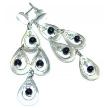 Long Incredible Onyx   .925 Sterling Silver  earrings