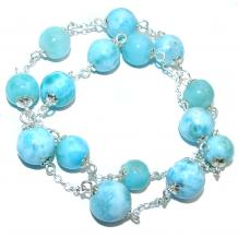 One of the kind Natural  Larimar .925 Sterling Silver handmade necklace