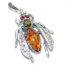 Wasp Design Polish Amber .925 Sterling Silver handcrafted Pendant