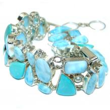 Luxury Genuine  Larimar Turquoise  .925  Sterling Silver handmade Bracelet