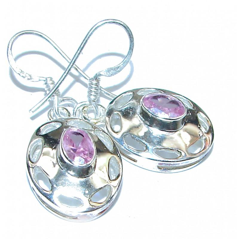 Kunzite and silver earrings