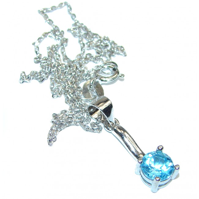 Melissa genuine Swiss Blue Topaz .925 Sterling Silver handmade necklace