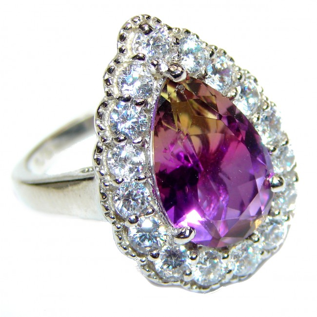 HUGE pear cut Ametrine .925 Sterling Silver handcrafted Ring s. 8 1/4
