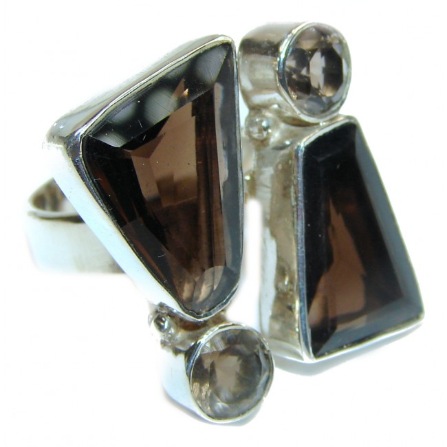 Bold Champagne Smoky Topaz .925 Sterling Silver Ring size 8