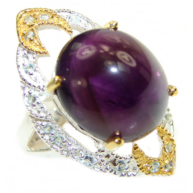 Huge Authentic Amethyst .925 Sterling Silver handmade Ring size 7