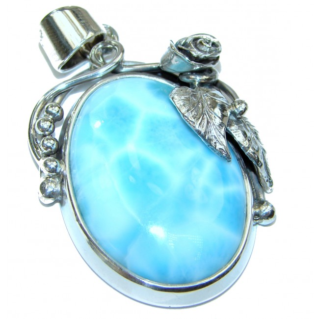 Great quality Larimar from Dominican Republic .925 Sterling Silver handmade Huge pendant