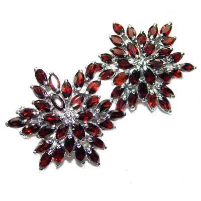 Red Carpet style Authentic Garnet .925 Sterling Silver handmade earrings