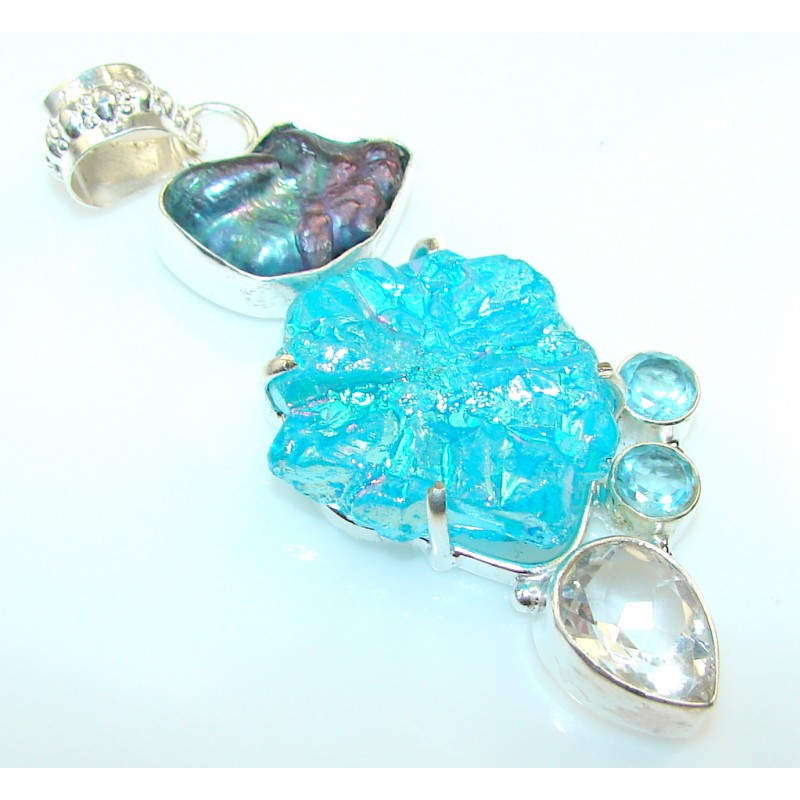 Blue Crystal Druzy Silver Plated Pendant