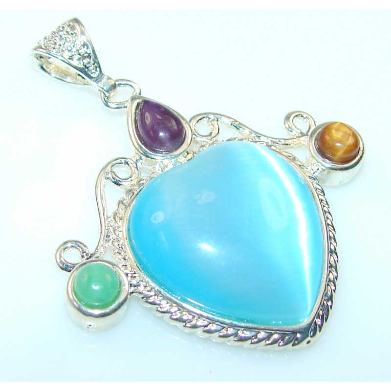 Amazing Blue Agate Silver Plated Pendant
