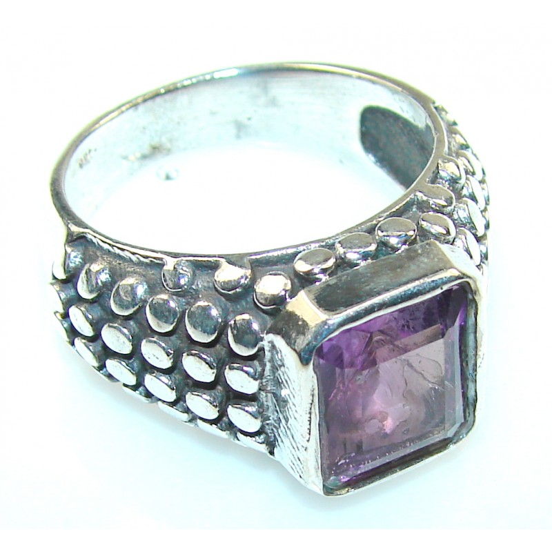 Purple Amethyst Silver Plated ring s. 12 1/4
