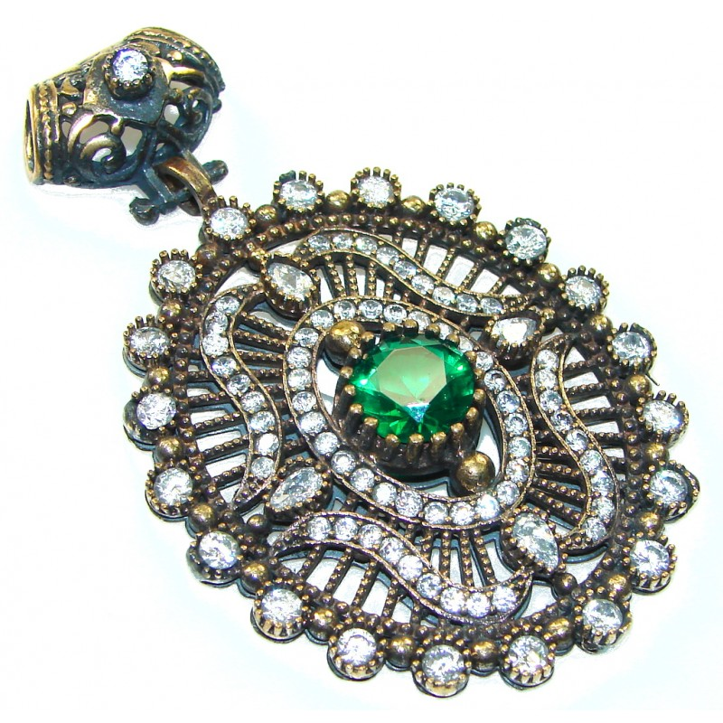 Perfect Oriental Created Green Emerald Sterling Silver Pendant