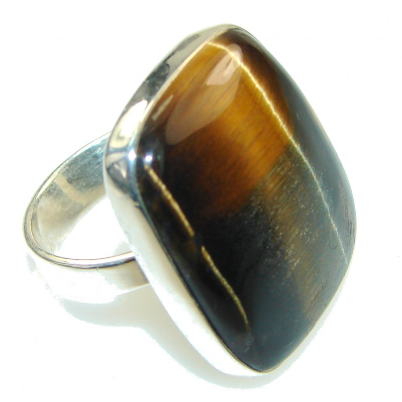 Beautiful Style Of Tigers Eye Sterling Silver Ring s. 8