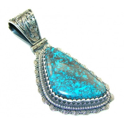 Amazing Blue Azurite Sterling Silver Pendant
