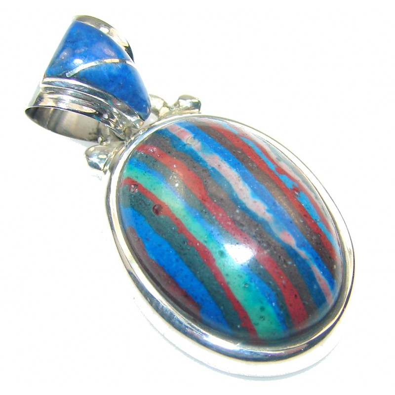 Petite!! Rainbow Calsilica Sterling Silver Pendant