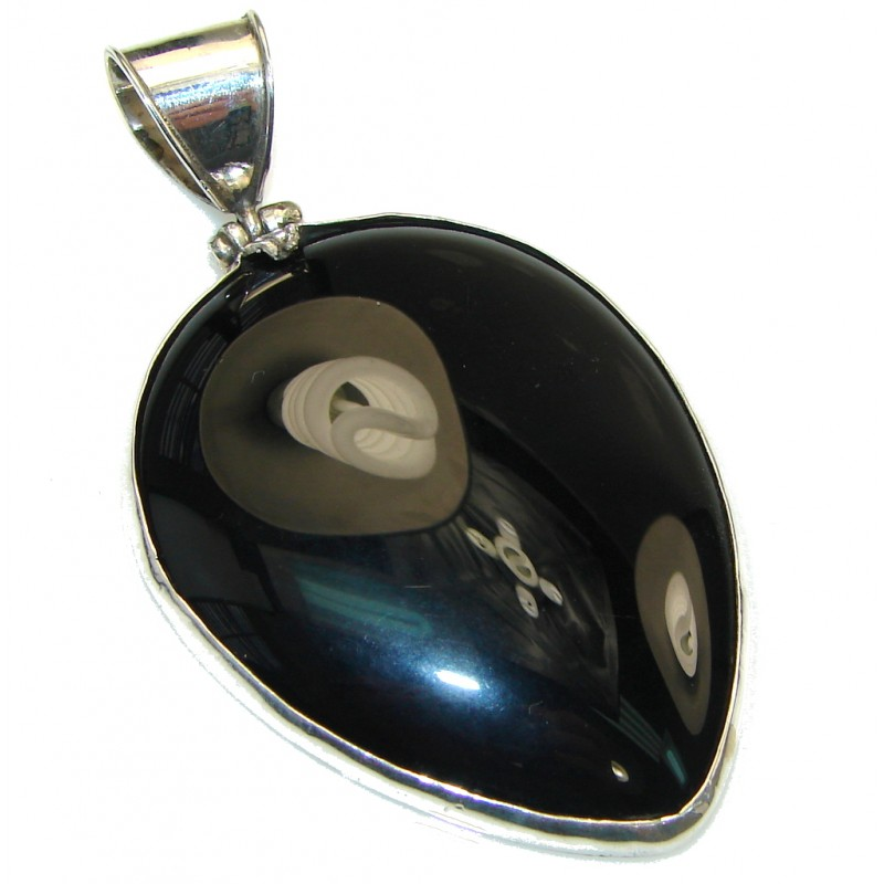 Simple! Large Black Onyx Sterling Silver pendant