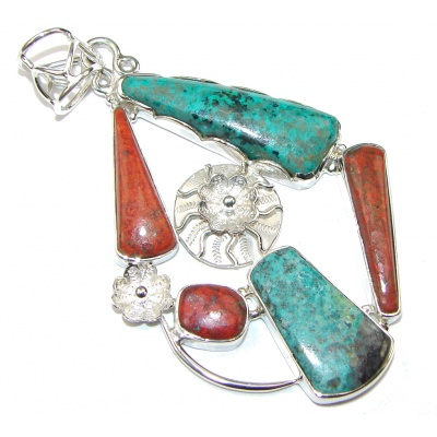 Big! Excellent Red Sonora Jasper Sterling Silver Pendant