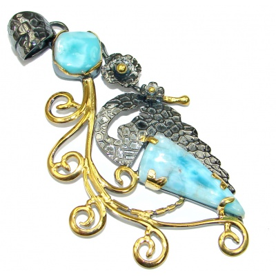 Large! Gorgeous Design! Blue Larimar, Gold Plated, Rhodium Plated Sterling Silver Pendant