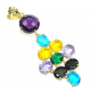Pale Beauty! Multicolor Quartz, 18K Gold Plated Sterling Silver Pendant
