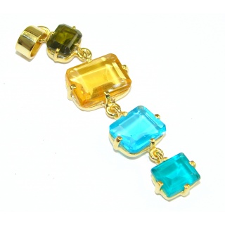 Luxury Multicolor Quartz, 18K Gold Plated Sterling Silver Pendant
