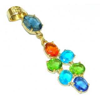 Great Multicolor Quartz 18K Gold Plated Sterling Silver Pendant